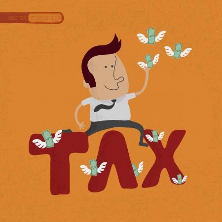 Zaken man springen over de fiscale woord, eps10 vector-formaat Vector Illustratie