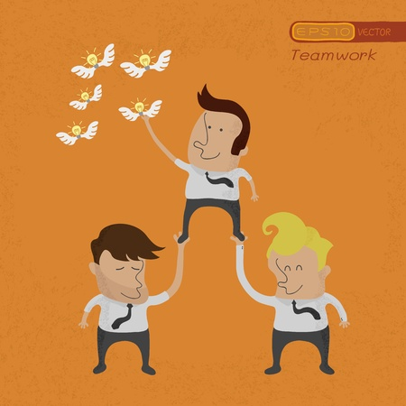 grab: Business people working as a team to grab the Idea , eps10 vector format