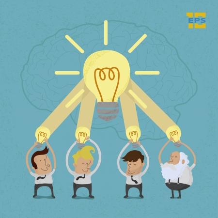 lluvia de ideas: Hombre de negocios de intercambio de ideas, en formato vectorial eps10