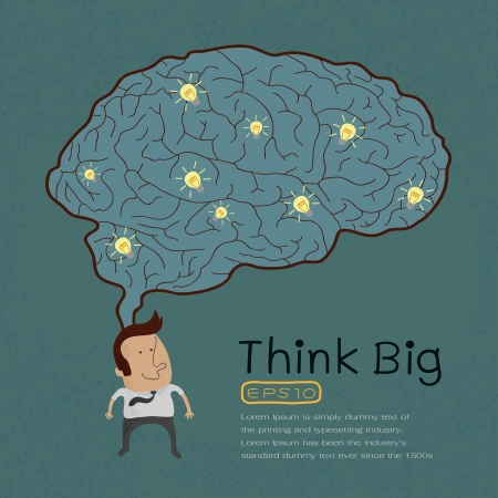 Businessman with Thinking big , eps10 vector format Vetores