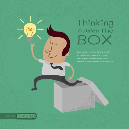 outside box: Businessman thinking outside the box , eps10 vector format Illustration