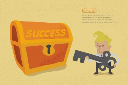 prospects: Business man has key to success , eps10 vector format Illustration