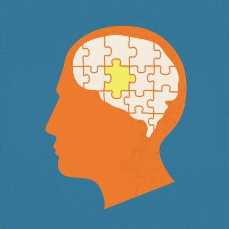psicologia: Gente cabeza con elementos rompecabezas, eps10 formato vectorial Vectores