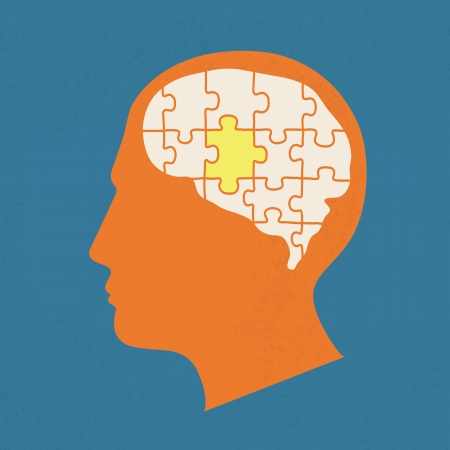 People head with puzzles elements , eps10 vector format