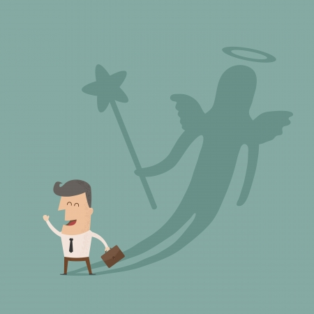 venture:  Businessman casting a angel shadow , eps10 vector format