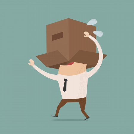 hide and seek: Business body with box  , eps10 vector format