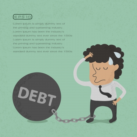 burden: Business man burden with Debt - Vector  , eps10 vector format