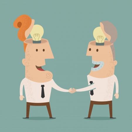 brilliant ideas: Business man get idea shake hands, eps10 vector format