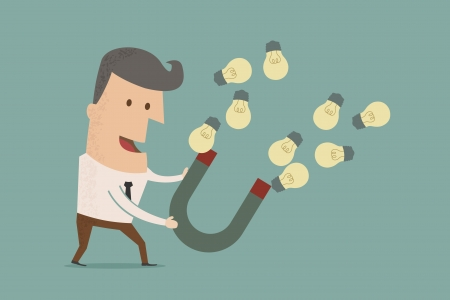 lodestone: businessman with horseshoe magnet collecting  light bulb , eps10 vector format