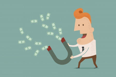 lodestone: businessman with horseshoe magnet collecting money , eps10 vector format Illustration