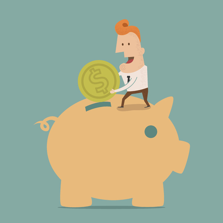 Businessman putting coin into piggy bank , Vector EPS10 Vector