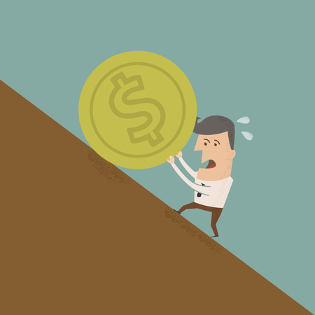 uphill: Businessman pushing coin , eps10 vector format
