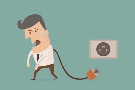 energy work: businessman unplug , eps10 vector format
