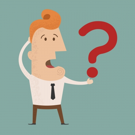 Business man scratches his head in indecision on a question mark , eps10 vector format Vector