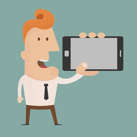telephone cartoon: Business man show smart phone  , eps10 vector format