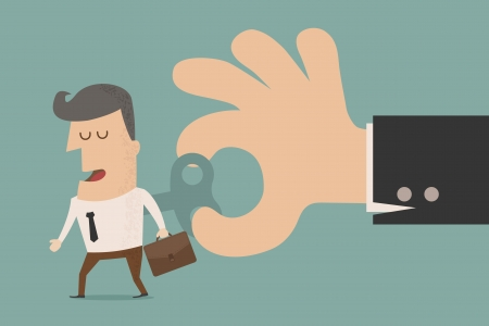 windup: Businessman With Wind-up Key In His Back  , eps10 vector format