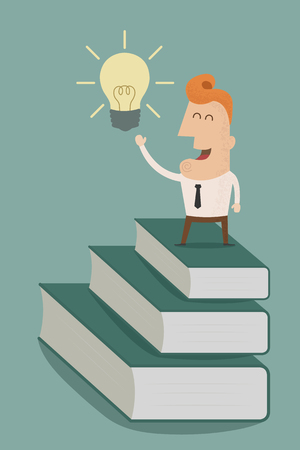 sapience: businessman standing on a stack of books to light bulb