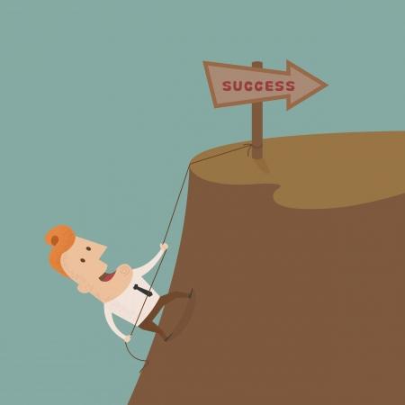 uphill: Businessman climbing on the rocks ,Vector EPS 10
