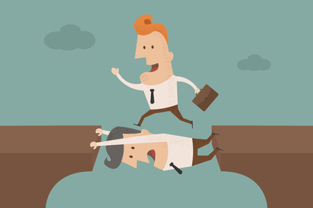 Teamwork with two businessman Vector