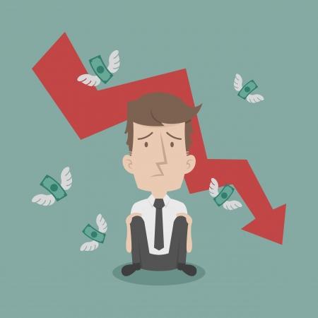 Zakenman mislukken en geld vliegen Stock Illustratie