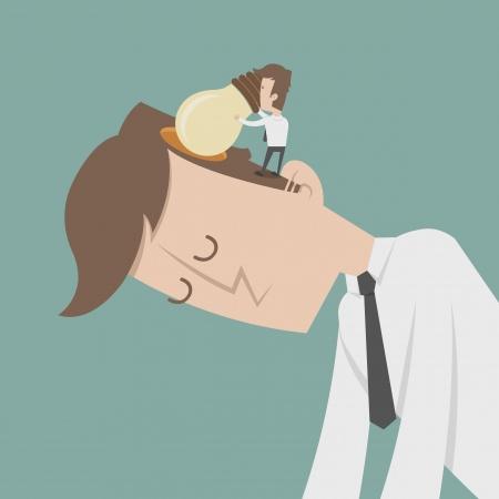 Businessman insert idea  Illustration