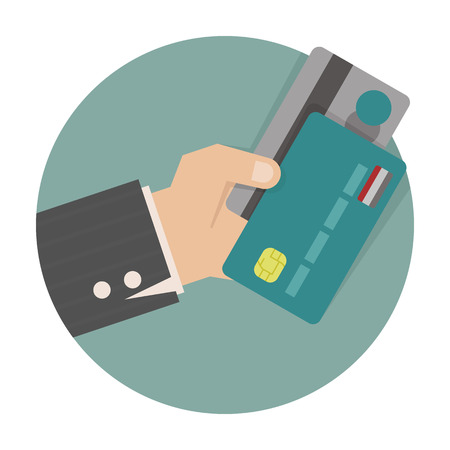tarjeta visa: Tarjeta de celebración de crédito de mano del empresario Vectores