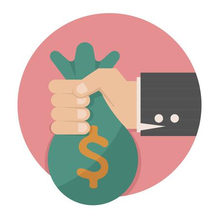Mano con el dinero, formato vectorial eps10