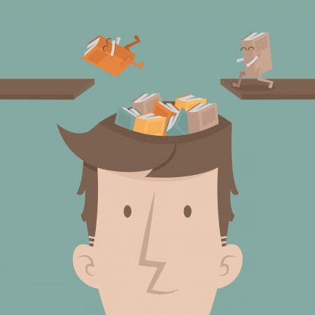 wit: A man fill knowledge  Illustration