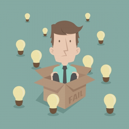 Businessman thinking inside the box format Vector
