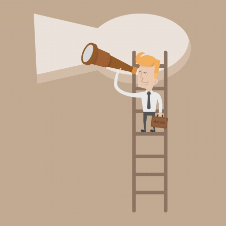 key hole: Businessman standing on ladder looking key way   Illustration