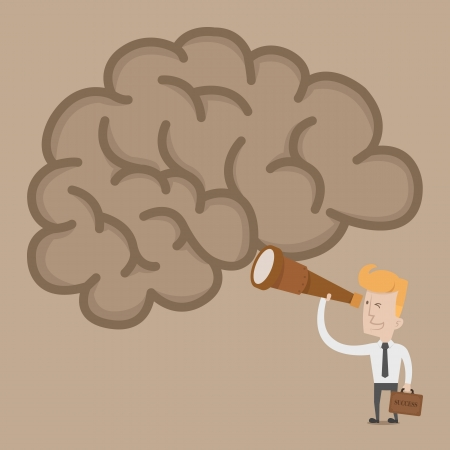 Businessman searching idea brain   Vector