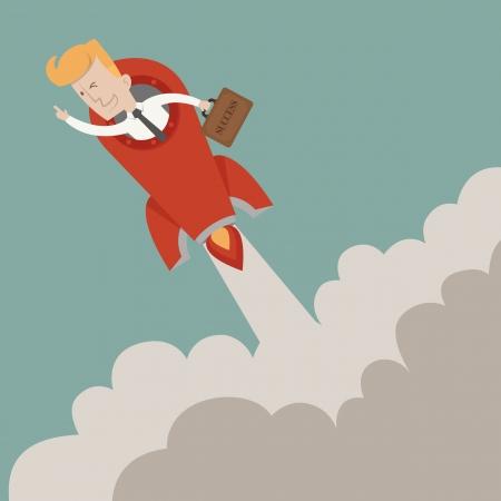 Businessman to success   Illustration