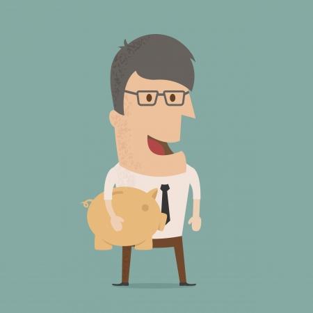 Business man geld besparen Stock Illustratie