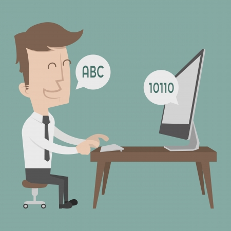 Businessman talking to a computer  Vector