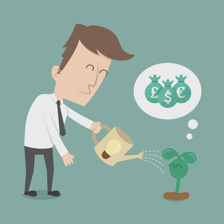 think big: Business man watering money tree