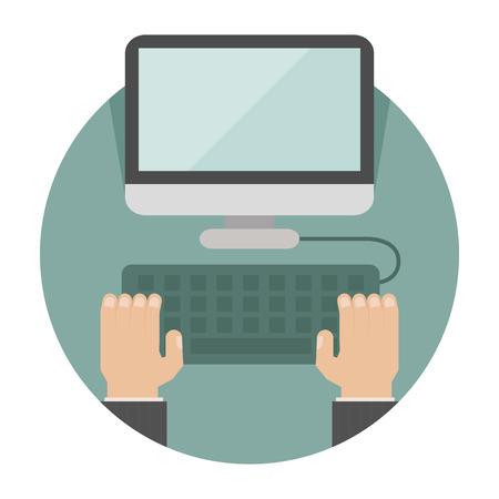 klawiatura: Ręka na laptopie