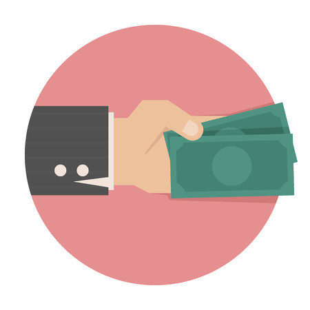 accept: Hand with money  Illustration