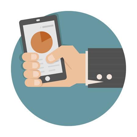 Hand holding smart phone with success growth  Ilustração