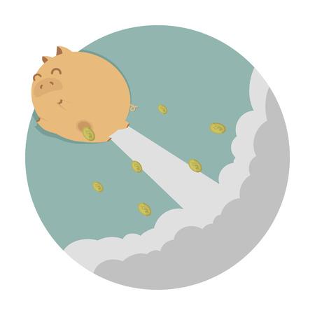 Piggy bank flying freedom  Vector