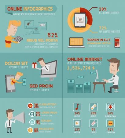 Infografica shopping online elementi, formato vettoriale eps10 Vettoriali