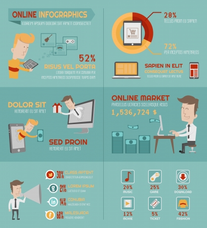 Online shopping infographics elements , eps10 vector format Vector