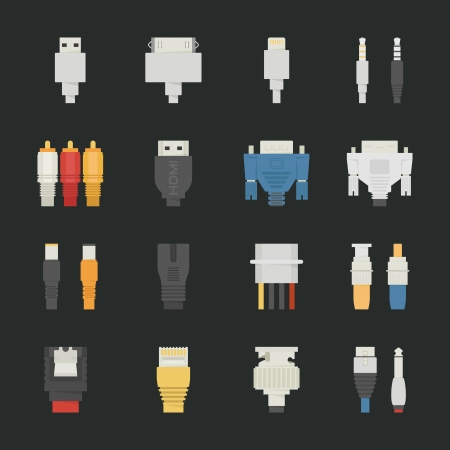 Cable wire computer icons with black background , eps10 vector format Illustration