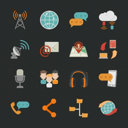 Communication icons with black background , eps10 vector format Vector