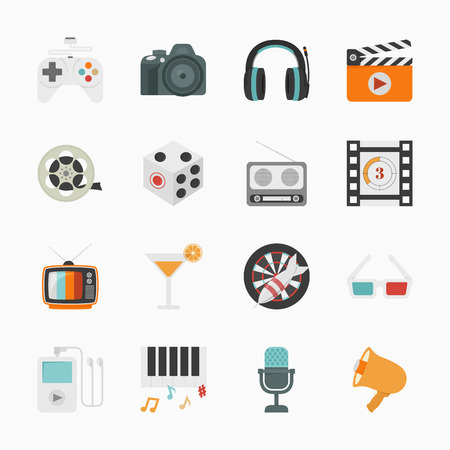 Entertainment Icons with White Background , eps10 vector format Vector