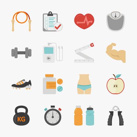 cinta metrica: Fitness y salud iconos con fondo blanco, formato vectorial eps10