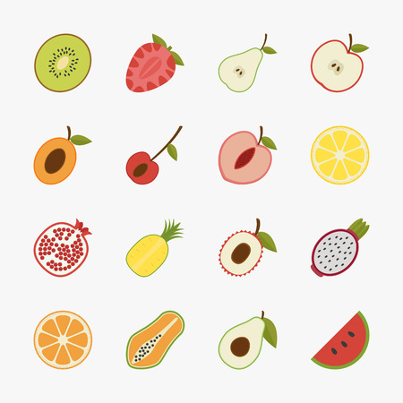 Fruit icons with white background , eps10 vector format