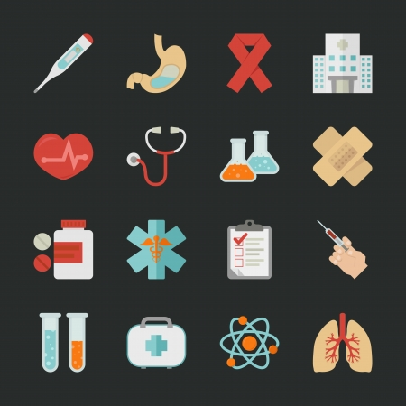 medical scan: Medical and health  icons with black background , eps10 vector format