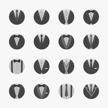 black tie: Businessman Suit Icons with White Background , eps10 vector format