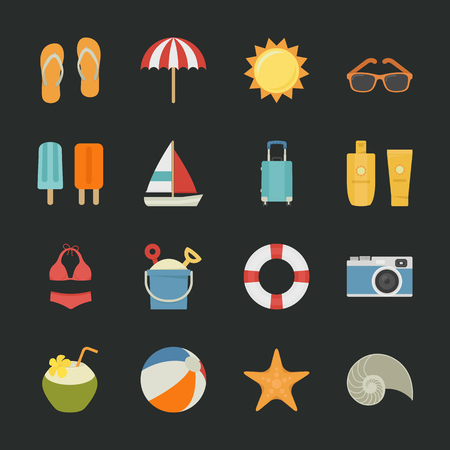 Summer icons , Vacation icons with black background , eps10 vector format Stock Vector - 24507140