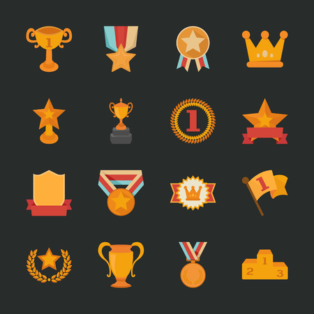 recognition: Prizes & Awards icons , flat design , eps10 vector format Illustration